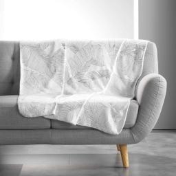 Plaid 125 x 150 cm imprimé metallise veggy Blanc/argent