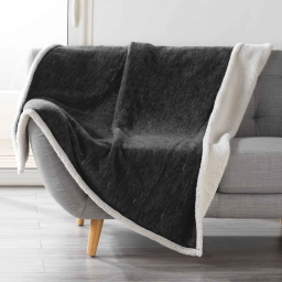 Plaid 125 x 150 cm polaire sherpa alpina Anthracite