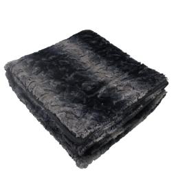 Plaid 127 x 152 cm imitation fourrure siberie Noir