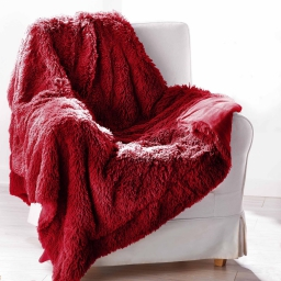 Plaid 130 x 160 cm imitation fourrure marmotte Rouge