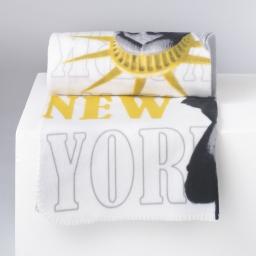 plaid 130 x 160 cm polaire imprimee ny yellow des. place
