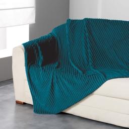 Plaid 180 x 220 cm flanelle jacquard uni zeline Bleu