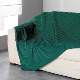 Plaid 180 x 220 cm flanelle jacquard uni zeline Vert