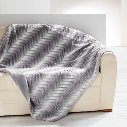 Plaid 180 x 220 cm imitation fourrure toronto Gris