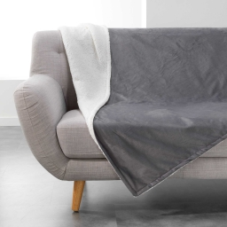 Plaid 180 x 220 cm velours/sherpa austral Anthracite