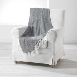 Plaid a franges 125 x 150 cm coton tisse merina Noir
