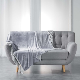 Plaid a franges 125 x 150 cm flanelle imprimee bendy Gris