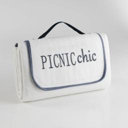 Plaid pique nique 125 x 150 cm polaire bicolore+peva garden Naturel/Anthracite