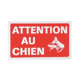 plaque attention chien - 33*20cm - rouge et blanc