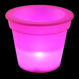 pot lumineux en plastique a piles + 1led ø16*h13cm fuchsia