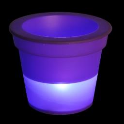 pot lumineux en plastique a piles + 1led ø16*h13cm prune