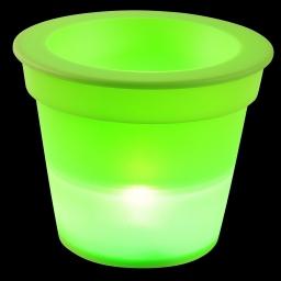 pot lumineux en plastique a piles + 1led ø16*h13cm vert anis