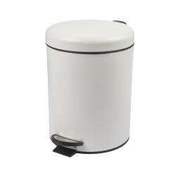 Poubelle a pedale metal effet mat 5l Blanc