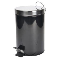 Poubelle metal 3l uni  douceur d'interieur theme vitamine Noir