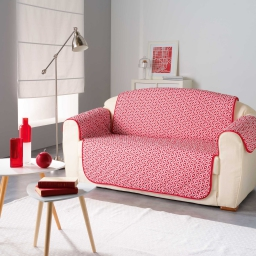 Protege canape matelasse 223 x 179 cm microfibre imprimee kiria Rouge