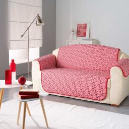 Protege canape matelasse 279 x 179 cm microfibre imprimee kiria Rouge