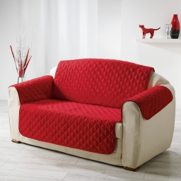 Protege fauteuil matelasse 165 x 179 cm microfibre unie club Rouge
