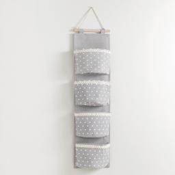 Rangement multipoches 20 x 75 cm polycoton imprime alicia Gris/Blanc