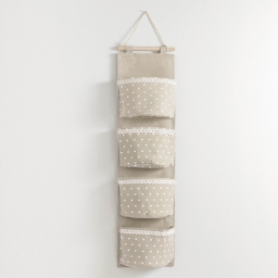 Rangement multipoches 20 x 75 cm polycoton imprime alicia Lin/Blanc