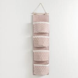 Rangement multipoches 20 x 75 cm polycoton imprime alicia Rose/Blanc
