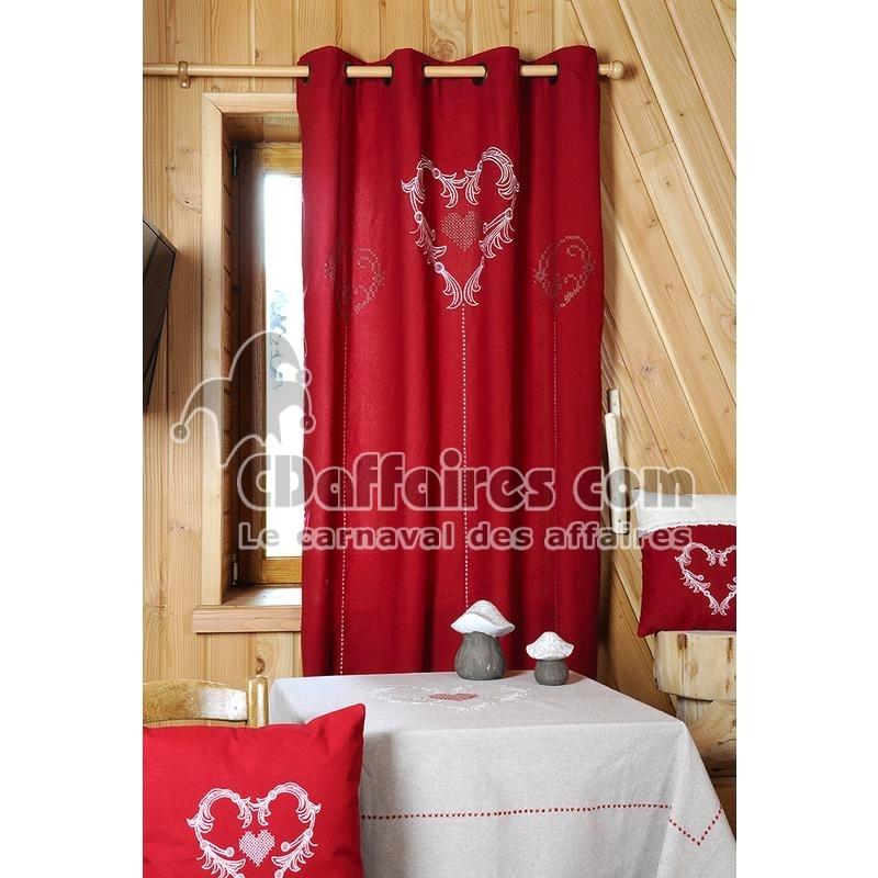 Rideau 100 coton brod 135x240 cm charmeur rouge - Rideau coton blanc brode ...