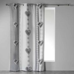 Rideau a oeillets 140 x 240 cm coton imprime asmara Gris