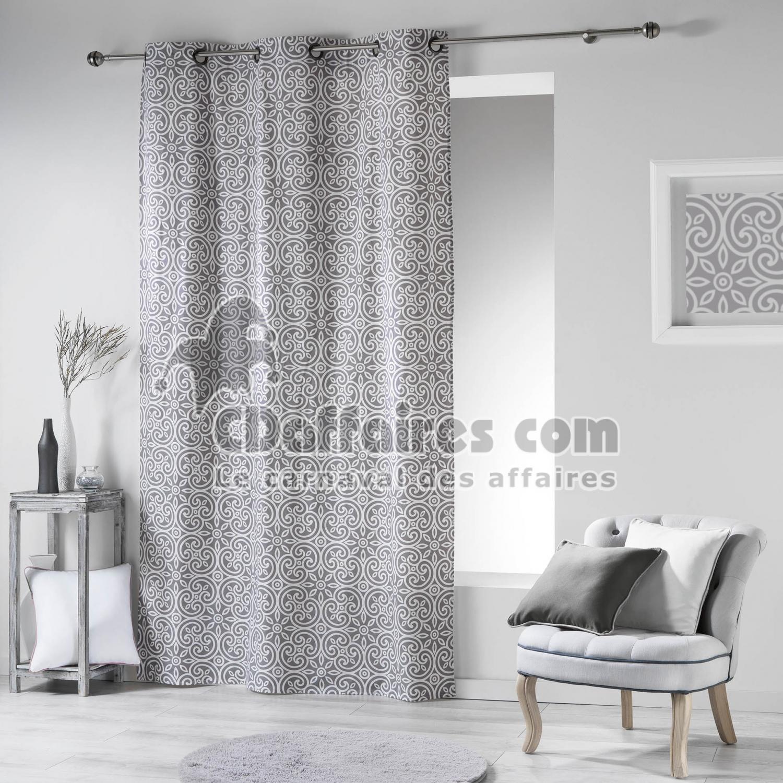 Rideau a oeillets 140 x 240 cm coton imprime assia gris for Rideaux imprimes