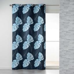 Rideau a oeillets 140 x 240 cm coton imprime azur leaf Bleu