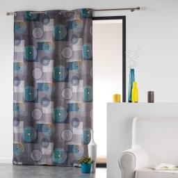 Rideau a oeillets 140 x 240 cm coton imprime calypso Bleu