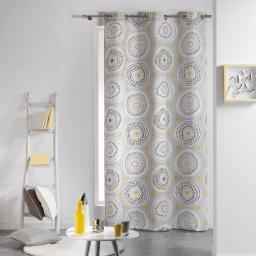 Rideau a oeillets 140 x 240 cm coton imprime disco Gris/Jaune