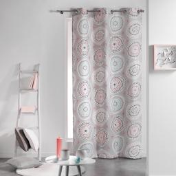Rideau a oeillets 140 x 240 cm coton imprime disco Rose/Menthe