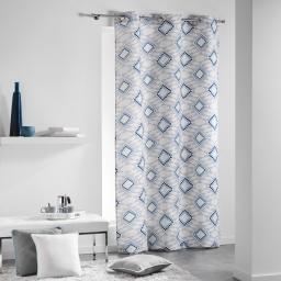 Rideau a oeillets 140 x 240 cm coton imprime folio Bleu
