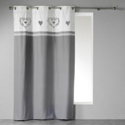 Rideau a oeillets 140 x 240 cm coton imprime home love  dessin place Gris/Blanc