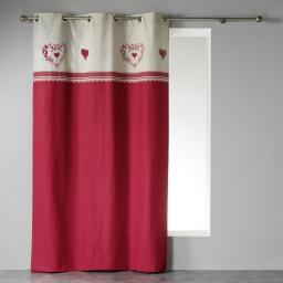 Rideau a oeillets 140 x 240 cm coton imprime home love  dessin place Rouge/Lin