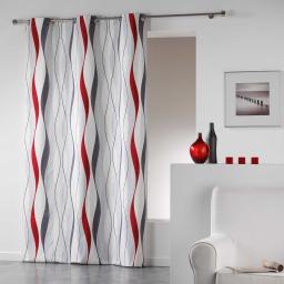 Rideau a oeillets 140 x 240 cm coton imprime ondulys Rouge