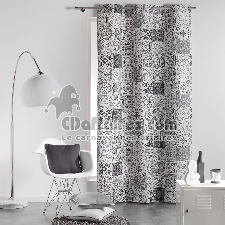 Rideau a oeillets 140 x 240 cm coton imprime persane gris for Rideaux imprimes