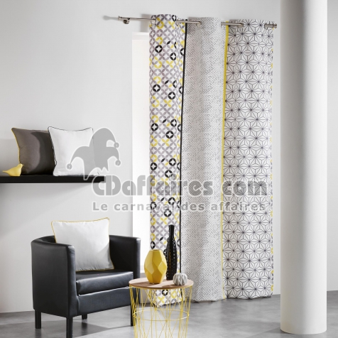 rideau a oeillets 140 x 240 cm coton imprime remix gris jaune cdaffaires. Black Bedroom Furniture Sets. Home Design Ideas