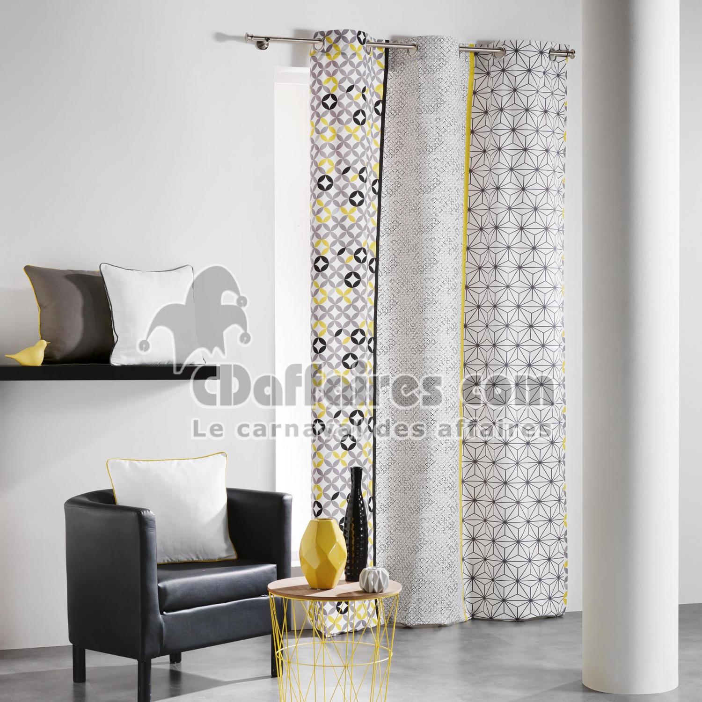 rideau a oeillets 140 x 240 cm coton imprime remix gris jaune cdaffaires. Black Bedroom Furniture Sets. Home Design Ideas