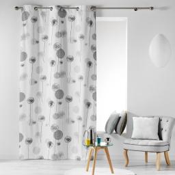 Rideau a oeillets 140 x 240 cm coton imprime tina Gris
