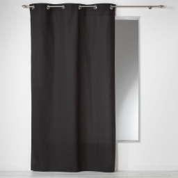 Rideau a oeillets 140 x 240 cm coton uni panama Noir