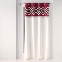 rideau a oeillets 140 x 240 cm coton uni+top imp. fantaisie neo berbere