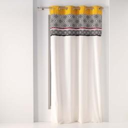 rideau a oeillets 140 x 240 cm coton uni+top imprime+franges kinga