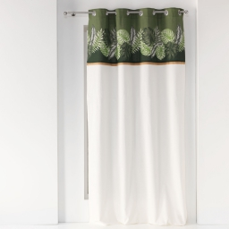 rideau a oeillets 140 x 240 cm coton uni+top imprime+jute guinee