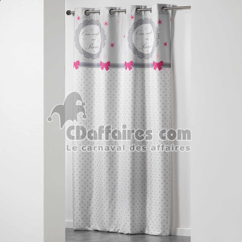 rideau a oeillets 140 x 240 cm microfibre imprimee paris. Black Bedroom Furniture Sets. Home Design Ideas