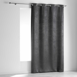 Rideau a oeillets 140 x 240 cm occultant velours frappe nighty Anthracite