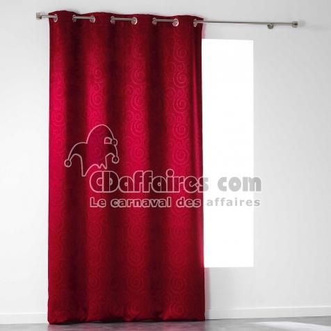 Rideau A Oeillets 140 X 240 Cm Occultant Velours Frappe Noctua Rouge