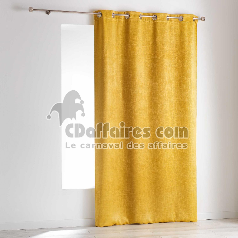 rideau a oeillets 140 x 240 cm occultant velours frappe opacia jaune cdaffaires. Black Bedroom Furniture Sets. Home Design Ideas