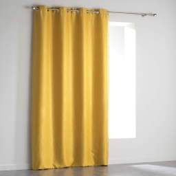 Rideau a oeillets 140 x 240 cm occultant velours frappe shadow Jaune