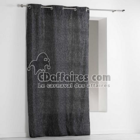 Rideau a oeillets 140 x 240 cm polycoton imprime memphis Noir