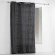 Rideau a oeillets 140 x 240 cm polycoton imprime memphis Noir, image n° 1